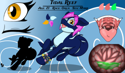 Size: 2400x1400 | Tagged: safe, artist:noblebrony317, oc, oc:tidal reef, orca, orca pony, original species, bracelet, color palette, eye, implied vore, internal, jewelry, macro, mawshot, one eye closed, open mouth, reference sheet, size comparison, stomach, stomach acid, stomach walls, vore, wink