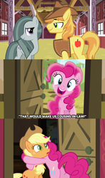 Size: 1280x2160 | Tagged: safe, edit, edited screencap, screencap, applejack, braeburn, marble pie, pinkie pie, pony, pinkie apple pie, barn, braeble, caption, confused, cousins, excited, female, hat, hug, huh, looking at each other, male, mare, pinkie logic, reaction, shipper on deck, shipper pie, shipping, shipping fuel, smiling, straight