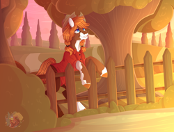 Size: 5000x3800 | Tagged: safe, artist:merienvip, oc, oc only, earth pony, pony, absurd resolution, clothes, female, fence, hat, mare, scenery, shirt, solo, tree