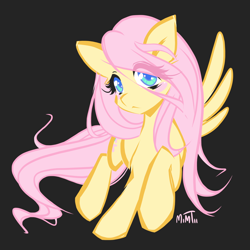 Size: 2048x2048 | Tagged: safe, artist:mim-stash, fluttershy, pegasus, pony, black background, colored pupils, cute, eye clipping through hair, female, high res, mare, shyabetes, simple background, solo, spread wings, wings