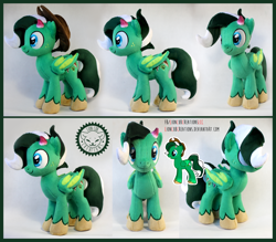 Size: 2012x1763 | Tagged: safe, artist:lioncubcreations, oc, oc only, original species, pegasus, plush pony, pony, atrisancraft, cowboy hat, green, hat, male, photo, plushie, solo, stallion, stetson, stetson hat