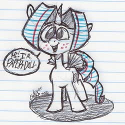 Size: 1046x1046 | Tagged: safe, artist:binkyt11, oc, oc only, oc:paper doll, alicorn, pony, pony town, freckles, lined paper, paper, solo, speech bubble, traditional art