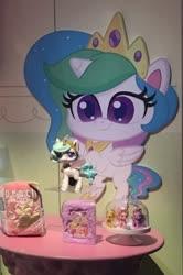 Size: 388x586 | Tagged: safe, applejack, fluttershy, pinkie pie, princess celestia, twilight sparkle, alicorn, pony, my little pony: pony life, cute, cutelestia, display, ethereal mane, merchandise, nyc toy fair 2020, photo, starry mane, toy, toy fair