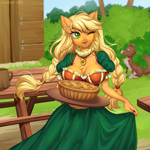 Size: 1197x1200 | Tagged: safe, artist:margony, applejack, winona, anthro, dog, earth pony, alternate hairstyle, blurred background, braid, breasts, busty applejack, chest fluff, cleavage, clothes, cute, dress, ear fluff, female, food, jackabetes, jewelry, mare, necklace, one eye closed, pie, twin braids, wink