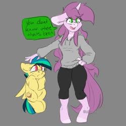 Size: 2000x2000 | Tagged: safe, artist:spoopygander, oc, oc:apogee, oc:mulberry tart, anthro, pegasus, pony, unguligrade anthro, unicorn, anthro with ponies, clothes, female, filly, mare, petting, talking, teenager