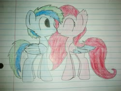 Size: 2592x1944 | Tagged: safe, artist:flame starkly, oc, oc only, oc:airy wu, oc:molly d, pegasus, pony, boop, colored wings, colored wingtips, lined paper, noseboop, race swap, traditional art