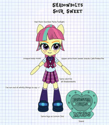 Size: 2434x2797 | Tagged: safe, artist:darkhooves, derpibooru exclusive, sour sweet, equestria girls, clothes, concept, crystal prep academy uniform, crystal prep shadowbolts, darkhooves wastes our time, digital art, doll, equestria girls minis, freckles, graph paper, merchandise, mockup, pleated skirt, ponytail, ribbon, school uniform, shoes, skirt, smiling, socks, solo, stand, toy