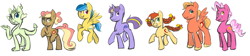 Size: 3096x692 | Tagged: safe, artist:khiroptera, oc, oc only, oc:cortland, oc:gala apple, oc:honeycrisp, oc:midnight sun, oc:peridot, oc:prancer, oc:skyline, dracony, earth pony, hybrid, pegasus, pony, unicorn, braided pigtails, braided tail, colt, cutie mark, female, filly, freckles, interspecies offspring, magical lesbian spawn, male, next generation, offspring, parent:applejack, parent:big macintosh, parent:comet tail, parent:fluttershy, parent:meadow song, parent:misty fly, parent:pinkie pie, parent:pokey pierce, parent:rainbow dash, parent:rarity, parent:spike, parent:twilight sparkle, parents:applesong, parents:cometlight, parents:fluttermac, parents:mistydash, parents:pokeypie, parents:sparity, unshorn fetlocks