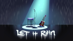 Size: 1920x1080 | Tagged: safe, screencap, equestria girls, equestria girls series, let it rain, spoiler:eqg series, spoiler:eqg series (season 2), discovery family logo, guitar, microphone, musical instrument, rain, spotlight, stool, title card