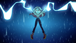Size: 1920x1080 | Tagged: safe, screencap, sunset shimmer, equestria girls, equestria girls series, let it rain, spoiler:eqg series, spoiler:eqg series (season 2), armpits, female, geode of empathy, lightning, magical geodes, rain, solo