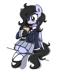 Size: 2048x2560 | Tagged: source needed, useless source url, safe, artist:sugar morning, oc, oc only, oc:tail, pegasus, pony, clothes, cutie mark, drink, eyelashes, female, pocket, school uniform, shoes, simple background, sitting, skirt, socks, solo, straw, straw in mouth, transparent background, wings