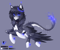 Size: 2208x1854 | Tagged: safe, artist:magicbalance, oc, oc only, oc:lumina azure, hybrid, pegasus, pony, sphinx, bow, collar, cute, fangs, female, fire, fire magic, firetail, jingle bells, looking at you, reference, reference sheet, shiny, solo, solo female, spread wings, tassels, wings, wreath