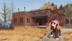 Size: 1187x673 | Tagged: safe, artist:sa1ntmax, oc, oc only, oc:scarlet serenade, pony, unicorn, fallout, fallout 76, female, house, mare, solo, wasteland