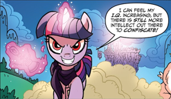 Size: 582x338 | Tagged: safe, idw, twilight sparkle, alicorn, spoiler:comic44, comic, evil grin, glowing horn, grin, horn, ponies of dark water, smiling, speech bubble, twilight sparkle (alicorn), tyrant sparkle