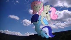 Size: 1920x1080 | Tagged: safe, artist:stormxf3, oc, oc:brushie brusha, oc:sweet shutter, earth pony, pegasus, pony, cloud, earth pony oc, female, flying, happy, holding a pony, irl, irl pony, mare, mountain, pegasus oc, photo, pink mane, ponies in real life, sky