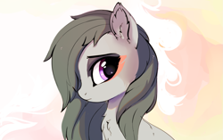 Size: 1535x964 | Tagged: safe, artist:aureai, marble pie, earth pony, pony, abstract background, bust, chest fluff, ear fluff, female, looking back, mare, messy mane, portrait, solo