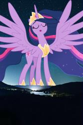 Size: 3648x5472 | Tagged: safe, artist:decprincess, artist:jerryakiraclassics19, twilight sparkle, alicorn, pony, spoiler:s09e26, crown, eyes closed, female, giant pony, giantess, highrise ponies, irl, jewelry, macro, mountain, night, older, older twilight, older twilight sparkle (alicorn), photo, ponies in real life, princess twilight 2.0, regalia, spread wings, truckee, twilight sparkle (alicorn), twizilla, wings