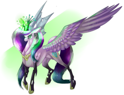 Size: 1823x1401 | Tagged: safe, artist:snowleopard-draws, princess cadance, queen chrysalis, alicorn, changeling, changeling queen, a canterlot wedding, disguise, disguised changeling, fake cadance, female, glowing horn, horn, mid-transformation, signature, simple background, solo, spread wings, transparent background, wings