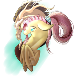 Size: 1024x1033 | Tagged: safe, artist:snowleopard-draws, discord, fluttershy, draconequus, pegasus, pony, the last problem, spoiler:s09e26, cuddling, discoshy, female, male, older, older fluttershy, shipping, signature, simple background, straight
