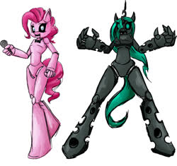 Size: 1118x1049 | Tagged: safe, artist:freakinbambam, pinkie pie, queen chrysalis, anthro, pony, unguligrade anthro, animatronic, bowtie, crossover, duo, fangs, featureless crotch, five nights at freddy's, glowing eyes, microphone, open mouth, ponified, simple background, white background
