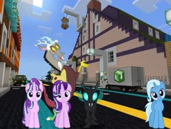 Size: 2048x1536 | Tagged: safe, artist:dashiesparkle, artist:xebck, edit, editor:topsangtheman, discord, starlight glimmer, thorax, trixie, changeling, draconequus, pony, unicorn, season 6, house, looking at you, minecraft, reformed, reformed four, s5 starlight, self ponidox, truck