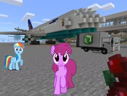 Size: 2048x1536 | Tagged: safe, artist:dashiesparkle, artist:estories, edit, editor:topsangtheman, berry punch, berryshine, rainbow dash, earth pony, pegasus, pony, airport, boeing 777, following, food, looking at you, lufthansa, minecraft, offscreen character, pov, truck