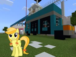 Size: 2048x1536 | Tagged: safe, artist:daringdashie, edit, editor:topsangtheman, jonagold, marmalade jalapeno popette, earth pony, pony, apple family member, chevrolet express, looking at you, minecraft, replica