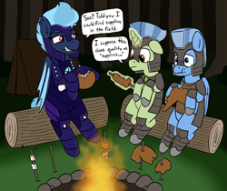 Size: 1260x1056 | Tagged: safe, artist:heretichesh, oc, oc only, oc:midnight harmony, bat pony, pegasus, pony, unicorn, armor, campfire, dialogue, food, forest, log, magic, meat, ponies eating meat, tent, text