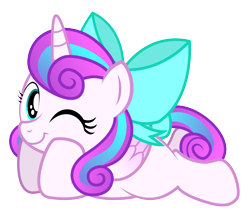 Size: 1650x1412   Tagged: safe, artist:aleximusprime, princess flurry heart, alicorn, flurry heart's story, bow, cute, diabetes, female, females only, filly, filly flurry heart, flurrybetes, laying on stomach, looking at you, lying down, one eye closed, simple background, solo, tail bow, transparent background, wink