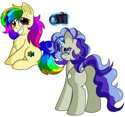 Size: 1280x1196 | Tagged: safe, artist:rainbowtashie, mayor mare, minuette, oc, oc:dental authority, oc:rainbow tashie, earth pony, pony, unicorn, camera, clothes, commissioner:bigonionbean, cutie mark, female, fusion, fusion:dental authority, glasses, glowing horn, grin, horn, magic, mare, multicolored hair, nervous, nervous grin, nervous smile, nintendo 64, rainbow hair, simple background, smiling, telekinesis, transparent background, writer:bigonionbean
