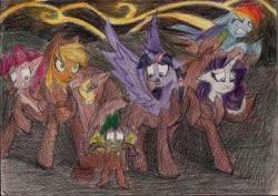 Size: 2331x1649 | Tagged: safe, artist:moonrises, applejack, fluttershy, pinkie pie, rainbow dash, rarity, spike, twilight sparkle, alicorn, dragon, earth pony, pegasus, pony, unicorn, comic:alternative ending, comic, female, male, mane seven, mane six, mare, petrification, scared, traditional art, twilight sparkle (alicorn), winged spike