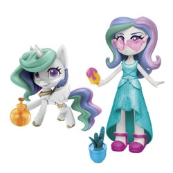 Size: 1000x1000 | Tagged: safe, princess celestia, alicorn, human, pony, equestria girls, my little pony: pony life, bottle, cactus, clothes, doll, dress, equestria girls minis, fashion squad, female, food, human ponidox, looking at you, mare, photo, popsicle, potted plant, principal celestia, self ponidox, shoes, simple background, smiling, spread wings, sunglasses, toy, unshorn fetlocks, white background, wings