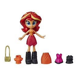 Size: 1000x1000 | Tagged: safe, sunset shimmer, human, equestria girls, boots, clothes, doll, equestria girls minis, fashion squad, female, hoodie, photo, purse, shirt, shoes, simple background, skirt, smiling, toy, white background
