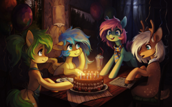 Size: 3050x1892 | Tagged: safe, artist:koviry, oc, oc only, deer, deer pony, earth pony, original species, pegasus, pony, birthday, birthday cake, birthday candles, cake, candle, food, group, sitting, smiling, table