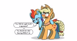 Size: 3175x1708 | Tagged: safe, artist:piemations, applejack, rainbow dash, earth pony, pony, the last problem, spoiler:s09e26, appledash, applejack's hat, blushing, cowboy hat, dialogue, duo, embarrassed, female, females only, future applejack, future rainbow dash, granny smith's scarf, hat, innuendo, lesbian, mare, mortified, older, older applejack, older rainbow dash, shipping, simple background, smiling, speech bubble, this will end in pain, transparent background, white background