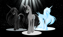 Size: 1953x1157 | Tagged: safe, artist:whitewing1, oc, oc:black star, alicorn, pony, unicorn, female, mare, triality