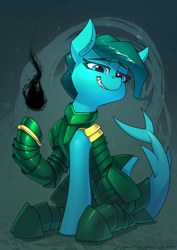 Size: 2480x3508 | Tagged: safe, artist:underpable, oc, oc:jeta, original species, shark, shark pony, commission, grin, high res, sitting, smiling, solo