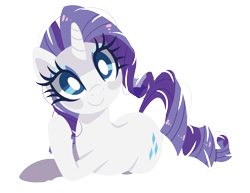 Size: 1500x1155 | Tagged: safe, artist:peachesandcreamated, edit, rarity, pony, unicorn, cute, female, head tilt, laying on side, looking at you, mare, prone, raribetes, simple background, smiling, solo, transparent background, white pupils