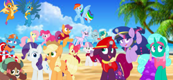 Size: 2340x1080 | Tagged: safe, artist:rainbow eevee, artist:徐詩珮, apple bloom, applejack, fizzlepop berrytwist, fluttershy, gallus, glitter drops, ocellus, pinkie pie, rainbow dash, rarity, sandbar, scootaloo, silverstream, smolder, spring rain, sweetie belle, tempest shadow, twilight sparkle, yona, alicorn, unicorn, series:sprglitemplight diary, series:sprglitemplight life jacket days, series:springshadowdrops diary, series:springshadowdrops life jacket days, alternate universe, bisexual, broken horn, clothes, cute, cutie mark crusaders, equestria girls outfit, female, filly, glitterbetes, glitterlight, glittershadow, horn, lesbian, lifeguard, lifeguard spring rain, mane six, paw patrol, polyamory, shipping, sprglitemplight, springbetes, springdrops, springlight, springshadow, springshadowdrops, student six, tempestbetes, tempestlight, twilight sparkle (alicorn)