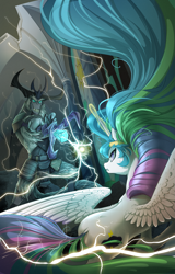Size: 2239x3500 | Tagged: safe, artist:batonya12561, storm king, oc, oc:mark wells, alicorn, pony, yeti, fanfic:off the mark, my little pony: the movie, armor, book cover, commission, cover, duo, electricity, female, male, mare, not celestia, staff, staff of sacanas