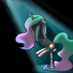 Size: 800x800 | Tagged: safe, artist:nimaru, princess celestia, pony, solo, spotlight, stool