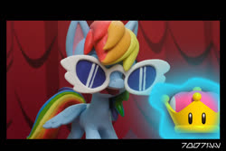 Size: 1288x858 | Tagged: safe, edit, edited screencap, editor:teren rogriss, screencap, rainbow dash, pegasus, pony, fashion failure, my little pony: pony life, crown, female, jewelry, levitation, magic, mare, open mouth, rainbow dash always dresses in style, rainbow dash is not amused, regalia, solo, sunglasses, super crown, telekinesis, unamused, wavy mouth, wings