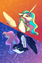 Size: 1500x2240 | Tagged: safe, artist:kiwigoat-art, princess celestia, princess luna, alicorn, redesign