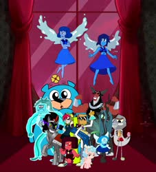 Size: 5103x5616 | Tagged: safe, cozy glow, king sombra, lord tirek, queen chrysalis, 5.0.5. (villainous), aquamarine (steven universe), black hat (villainous), brotherhood of evil mutants, cartoon network, crossover, demencia, dr. flug, lazuli twins, legion of doom, mean lapis, my little pony, nice lapis, regular show, rob, ruby (steven universe), steven universe, the amazing world of gumball, the hammer, villainous