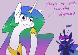 Size: 1920x1358 | Tagged: safe, artist:underpable, princess celestia, princess luna, alicorn, pony, alexa play despacito, blush sticker, blushing, derpface, despacito, dialogue, duo, ethereal mane, female, hoof shoes, jewelry, mare, meme, peytral, regalia, royal sisters, siblings, starry mane, text, writing