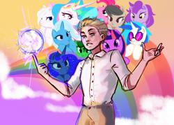 Size: 1800x1289 | Tagged: artist needed, safe, dj pon-3, octavia melody, pinkie pie, princess celestia, princess luna, trixie, twilight sparkle, vinyl scratch, oc, alicorn, earth pony, human, pony, unicorn, ball lightning, fanfic art, female, human male, human oc, male, mare, rainbow, suicidal, unicorn twilight