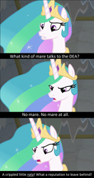 Size: 1276x2420 | Tagged: safe, edit, edited screencap, screencap, princess celestia, horse play, angry, breaking bad, caption, jewelry, meta, regalia, sad, solo, spoilers for another series