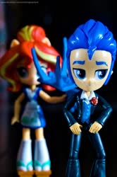 Size: 1024x1545 | Tagged: safe, artist:artofmagicpoland, flash sentry, sunset shimmer, equestria girls, chair, doll, equestria girls minis, meancing, photo, still life, toy, waiting