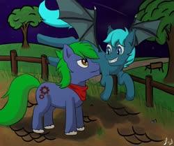 Size: 1280x1068 | Tagged: safe, artist:paw-of-darkness, oc, oc only, oc:arcane gears, oc:guttatus, bat pony, earth pony, fence, male, night, park, stallion