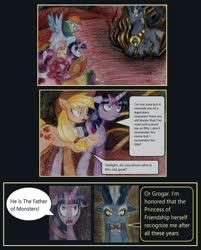 Size: 900x1122 | Tagged: safe, artist:moonrises, applejack, fluttershy, grogar, pinkie pie, rainbow dash, rarity, spike, twilight sparkle, alicorn, dragon, earth pony, pegasus, pony, sheep, unicorn, comic:alternative ending, bell, comic, female, grogar's bell, male, mane seven, mane six, mare, ram, traditional art, twilight sparkle (alicorn)